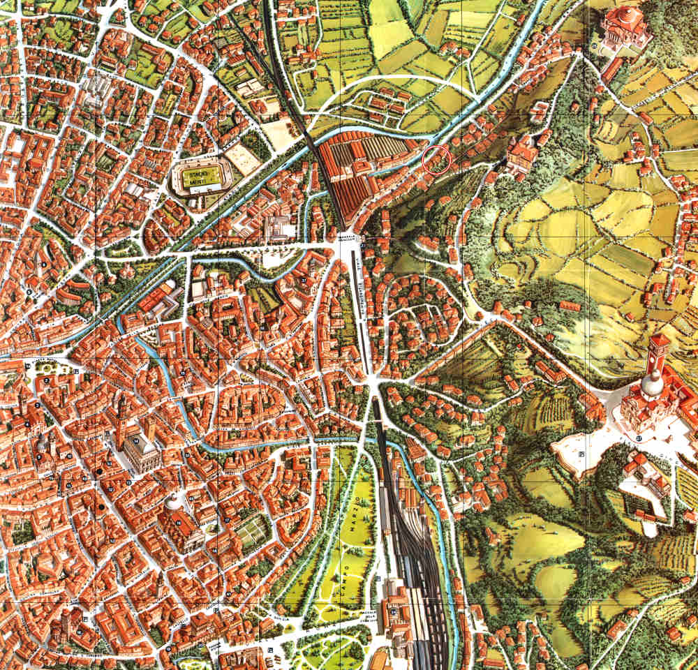 Map of monuments and other points of interest in vicenza italy