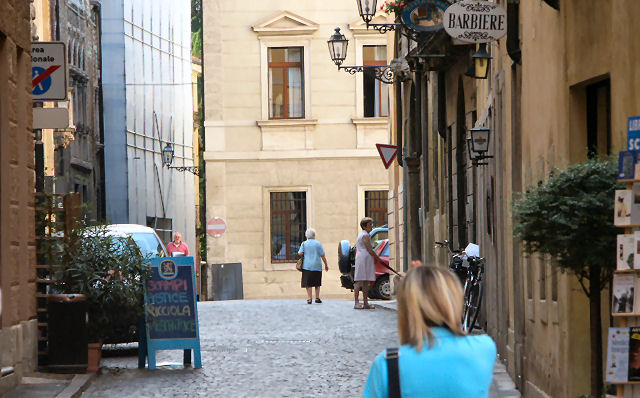 Cobblestone street in downtown Vicenza