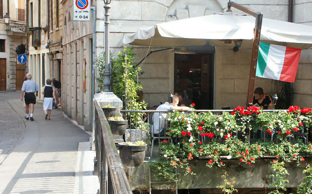 Outdoor cafe in northern Italy