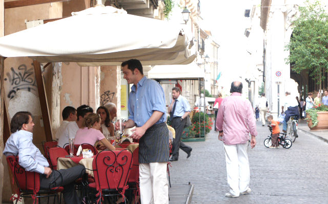 Outdoor street cafe in Vicenza Italy